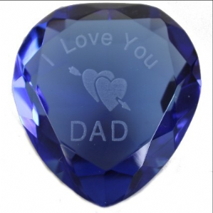 I Love You Dad & Hearts Blue Crystal Heart, Fathers Day